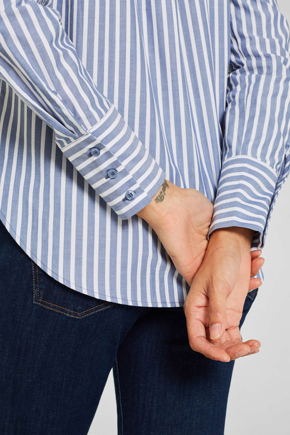 Blouse with stripes, 100% cotton, BLUE, detail image number 2