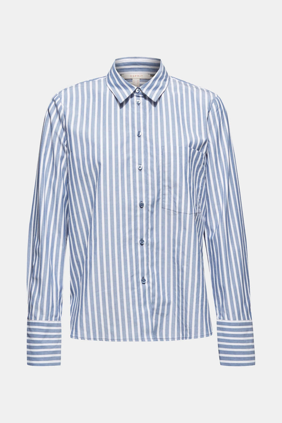 Blouse with stripes, 100% cotton, BLUE, detail image number 7