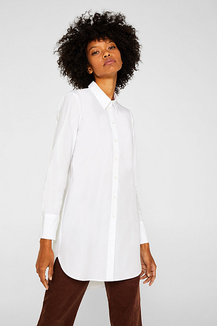 Long blouse made of stretch cotton, WHITE, detail image number 0