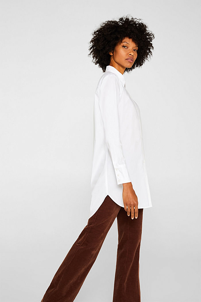 Long blouse made of stretch cotton, WHITE, detail image number 5