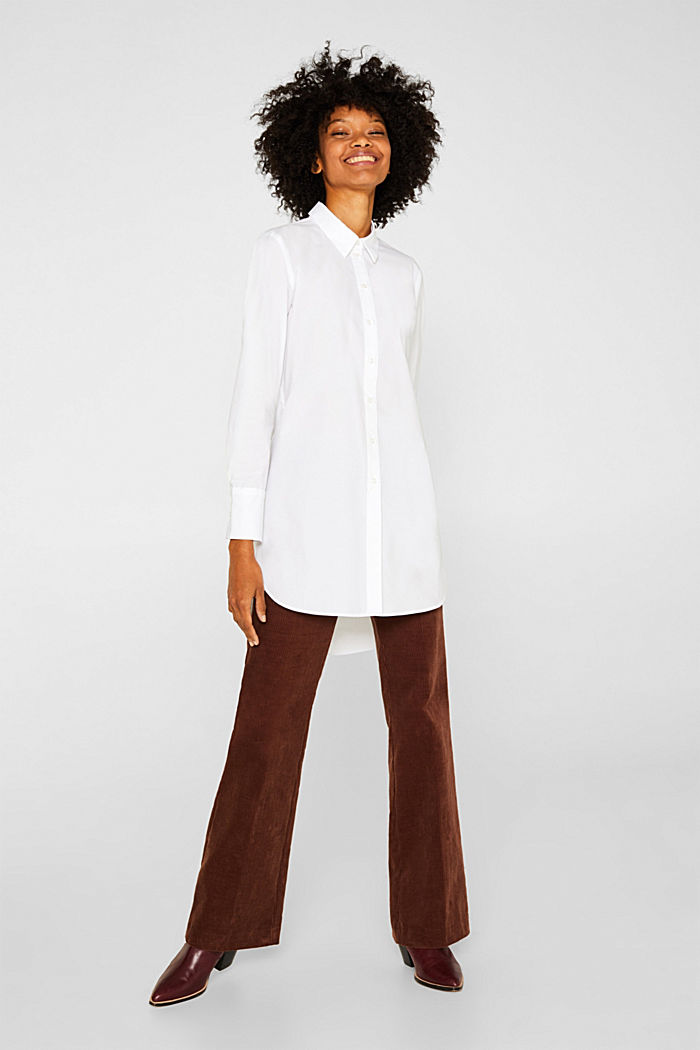 Long blouse made of stretch cotton, WHITE, detail image number 6