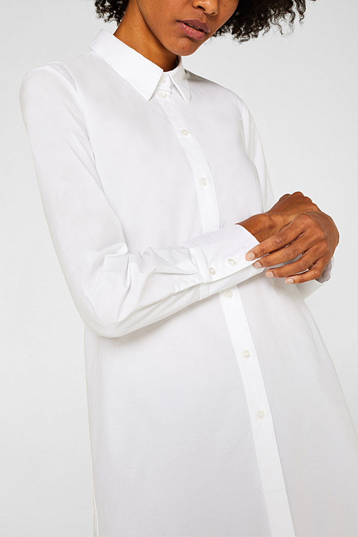Long blouse made of stretch cotton, WHITE, detail image number 2