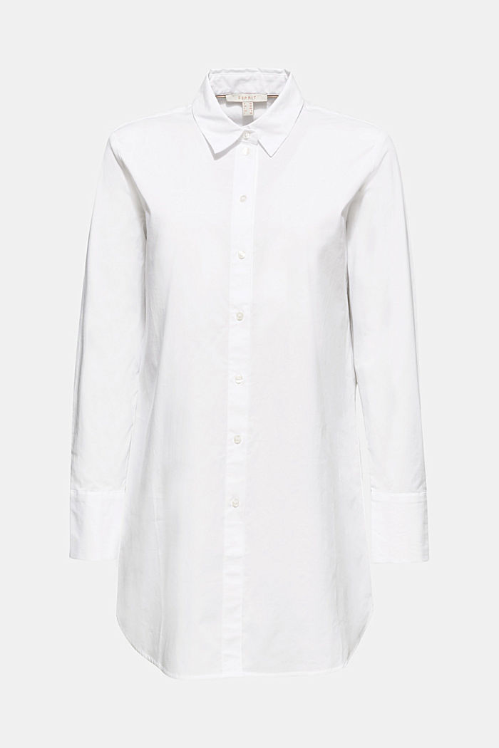 Long blouse made of stretch cotton, WHITE, detail image number 7