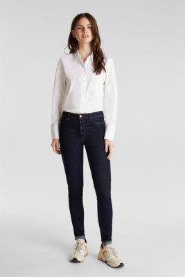 Stretch cotton shirt blouse, WHITE, detail
