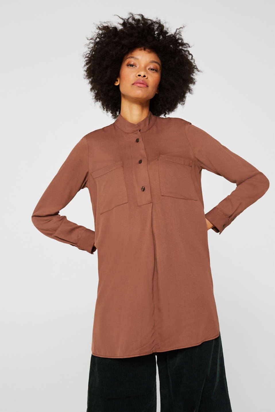 Esprit - Long blouse with a stand-up collar