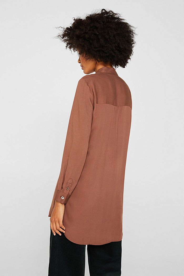 Long blouse with a stand-up collar, BROWN, detail image number 3