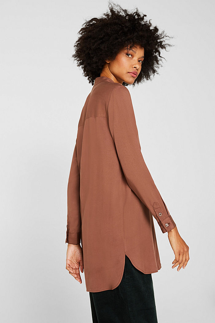 Long blouse with a stand-up collar, BROWN, detail image number 5