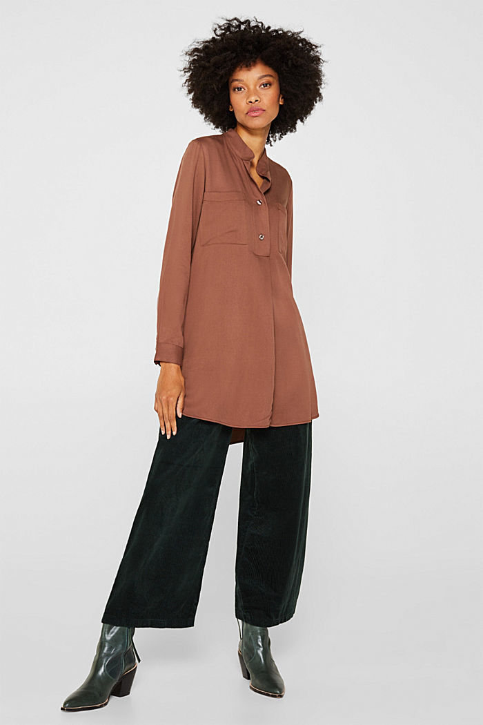 Long blouse with a stand-up collar, BROWN, detail image number 1