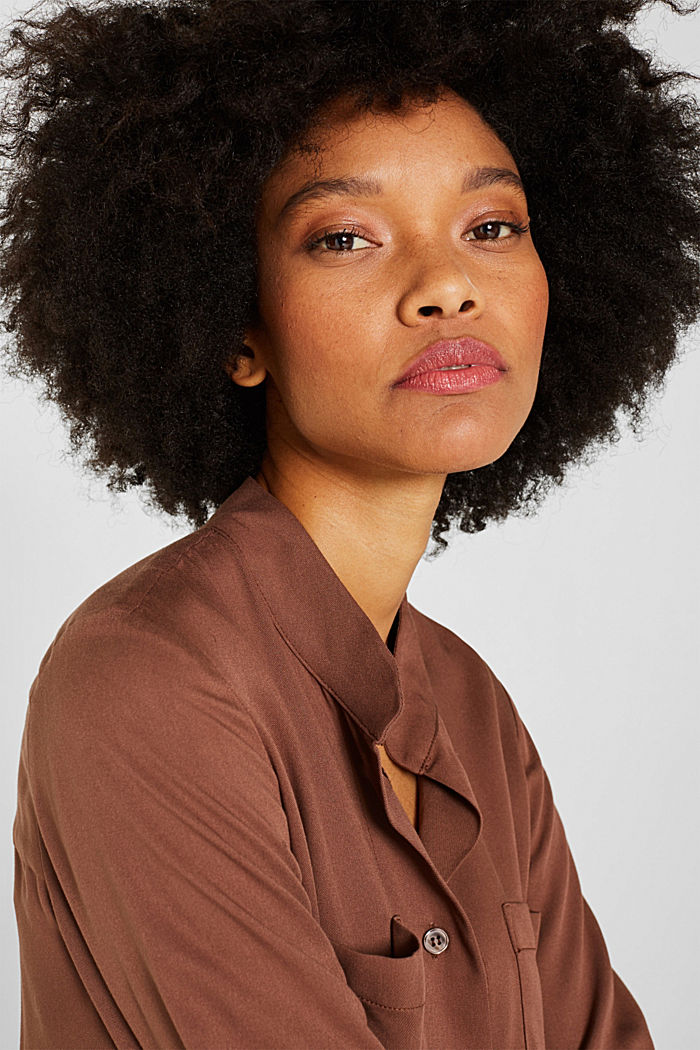 Long blouse with a stand-up collar, BROWN, detail image number 2