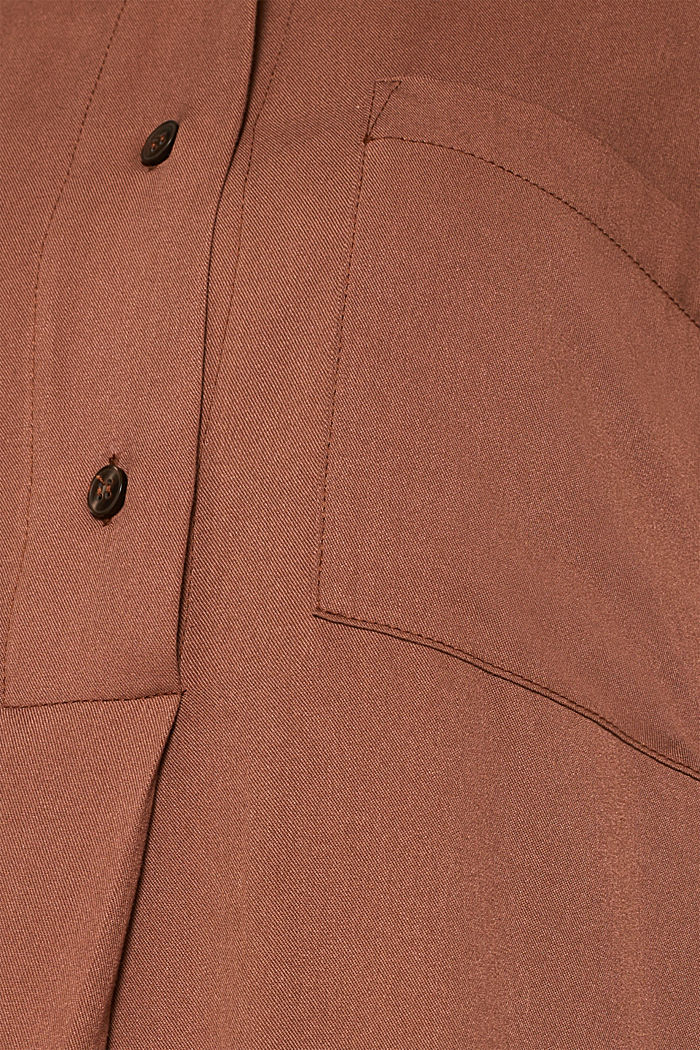 Long blouse with a stand-up collar, BROWN, detail image number 4