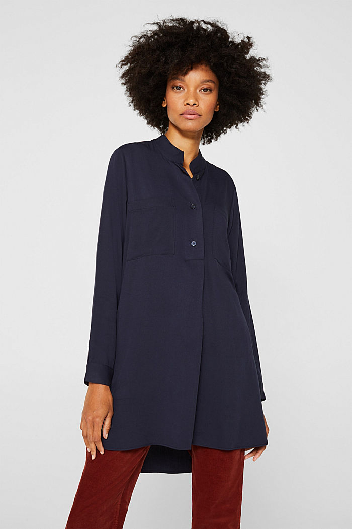Long blouse with a stand-up collar, NAVY, detail image number 0