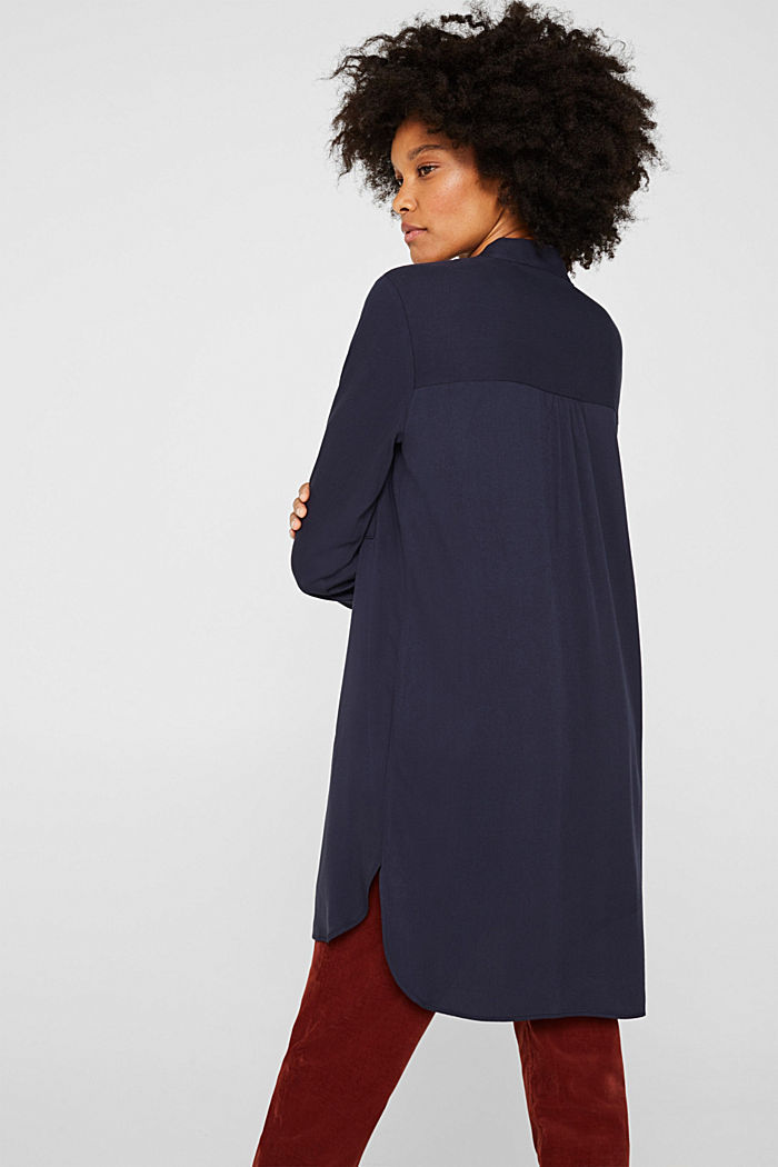 Long blouse with a stand-up collar, NAVY, detail image number 3