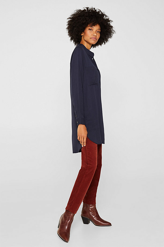 Long blouse with a stand-up collar, NAVY, detail image number 5