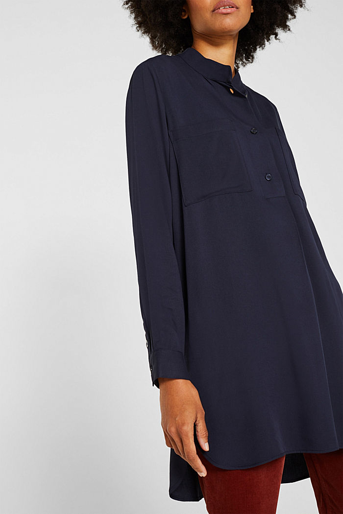 Long blouse with a stand-up collar, NAVY, detail image number 2
