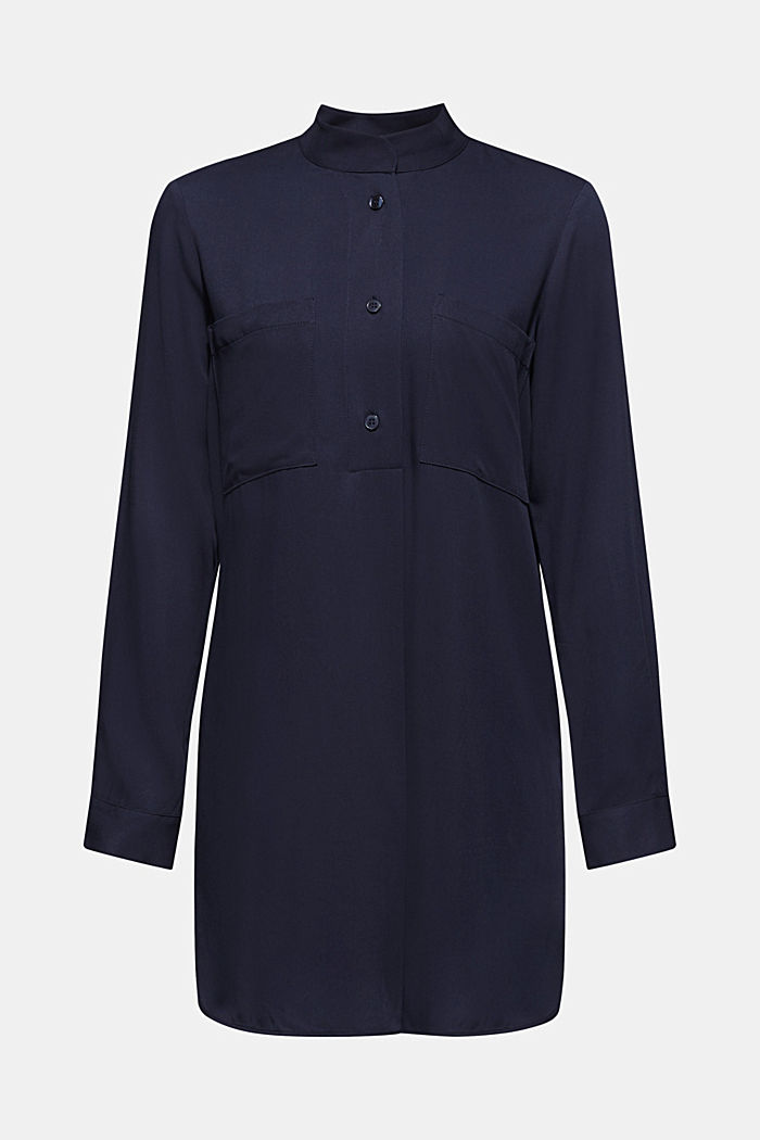 Long blouse with a stand-up collar, NAVY, detail image number 7