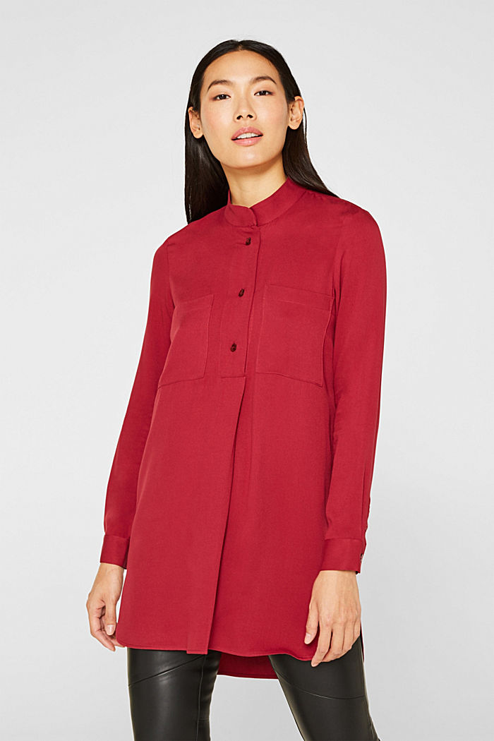 Long blouse with a stand-up collar, GARNET RED, detail image number 0
