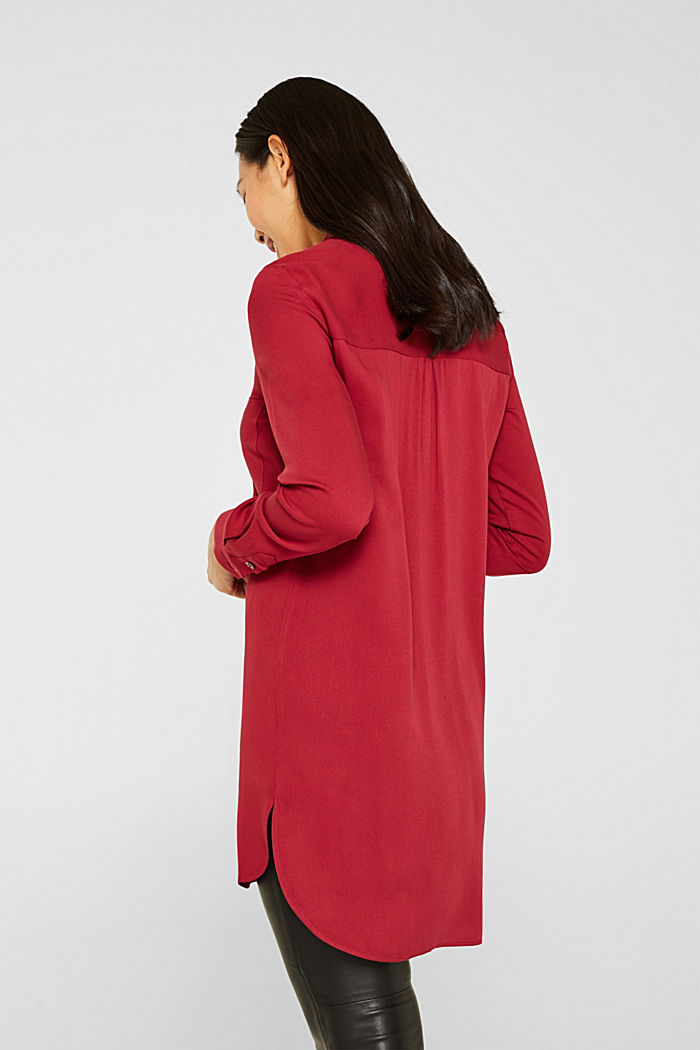 Long blouse with a stand-up collar, GARNET RED, detail image number 3