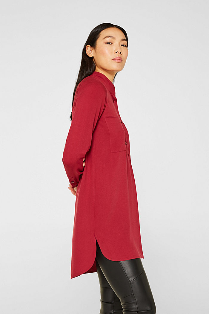 Long blouse with a stand-up collar, GARNET RED, detail image number 5