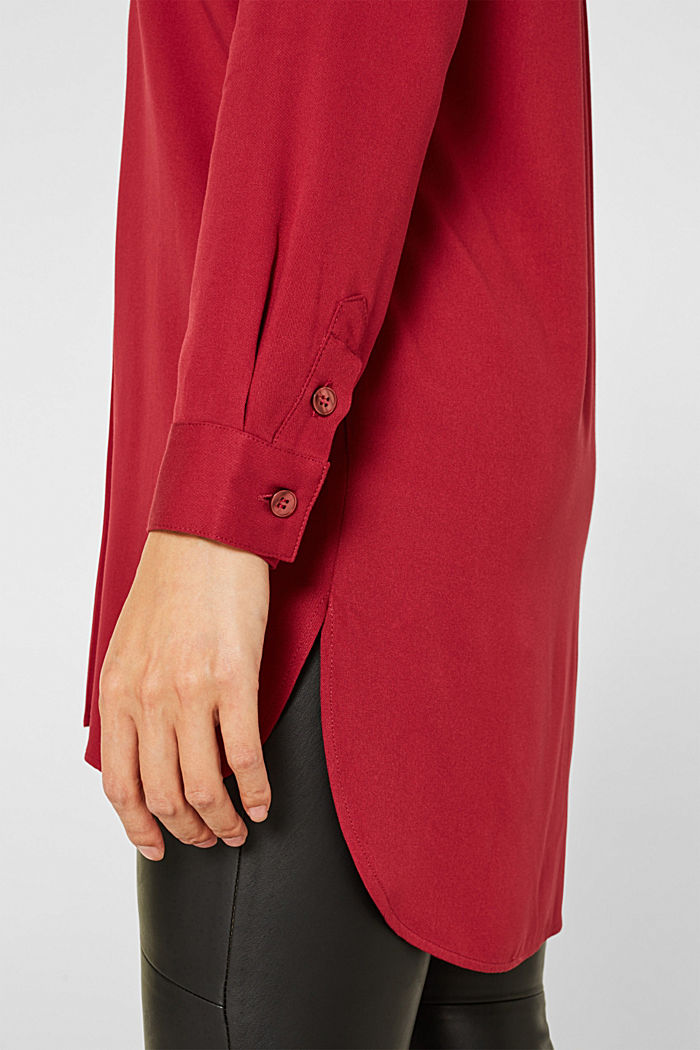 Long blouse with a stand-up collar, GARNET RED, detail image number 2