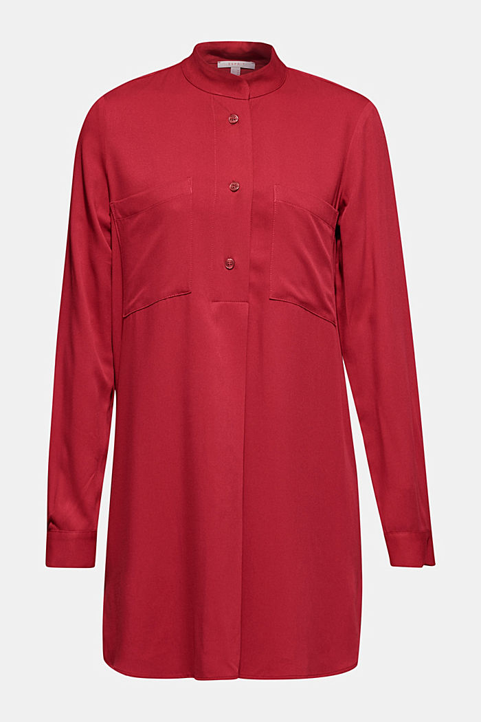 Long blouse with a stand-up collar, GARNET RED, detail image number 7