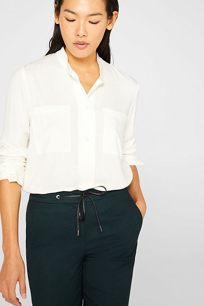 Slip-on blouse with a band collar, OFF WHITE, detail image number 0