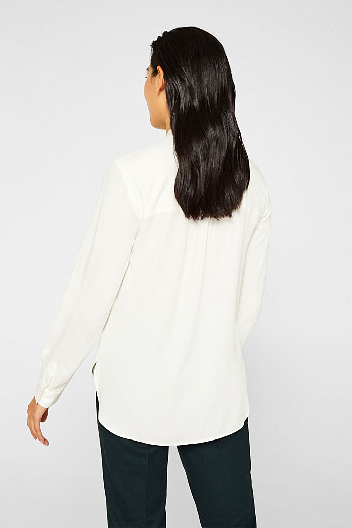 Slip-on blouse with a band collar, OFF WHITE, detail image number 3