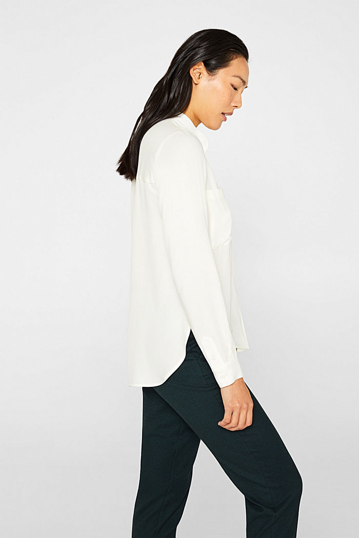 Slip-on blouse with a band collar, OFF WHITE, detail image number 5