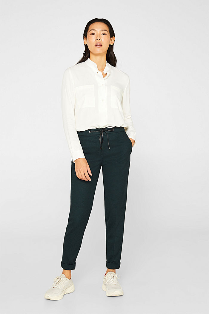 Slip-on blouse with a band collar, OFF WHITE, detail image number 1