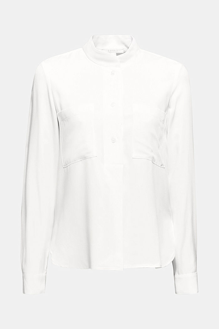 Slip-on blouse with a band collar, OFF WHITE, detail image number 6
