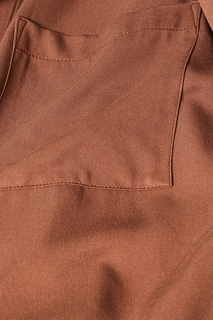 Slip-on blouse with a band collar, BROWN, detail image number 2