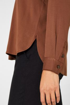 Slip-on blouse with a band collar, BROWN, detail
