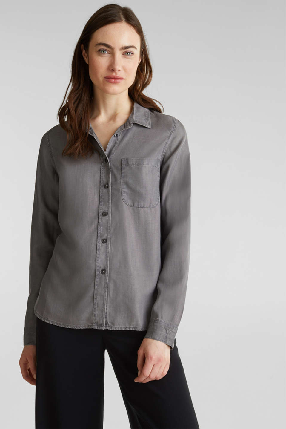Esprit - Aus TENCEL™: Bluse im Denim-Look