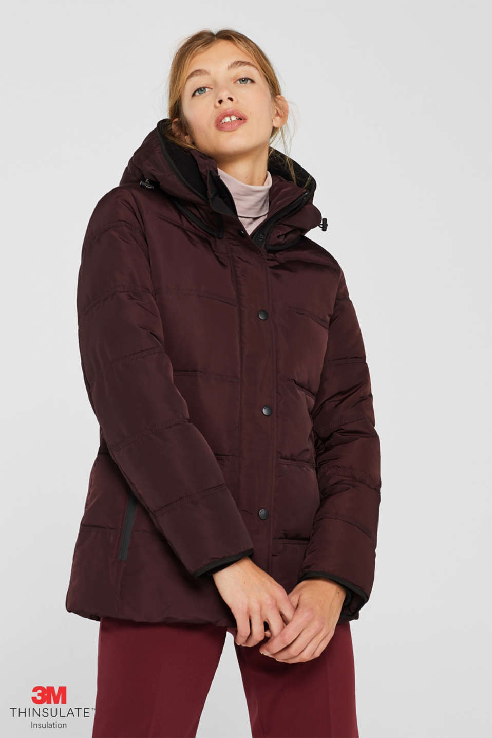 Quilted jacket with 3M™ Thinsulate™ technology, BORDEAUX RED, detail image number 0