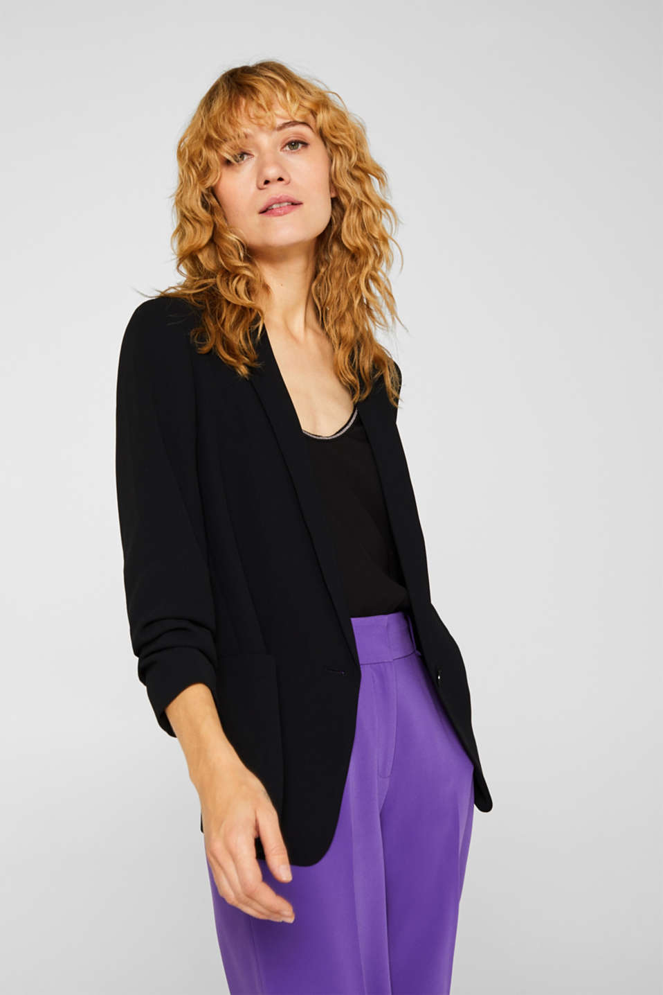 Esprit - Blazer with gathered 3/4-length sleeves