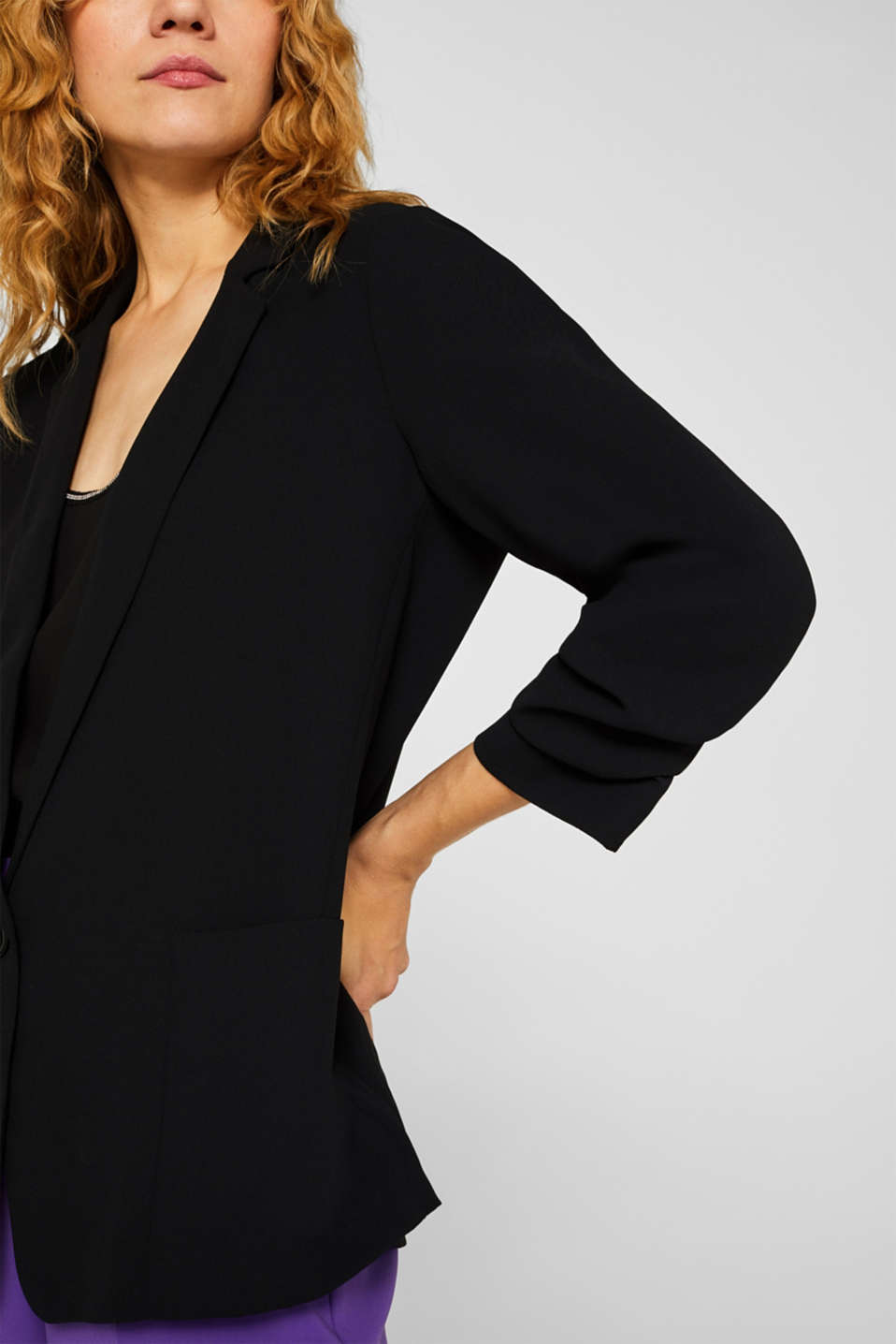 Blazer with gathered 3/4-length sleeves, BLACK, detail image number 2