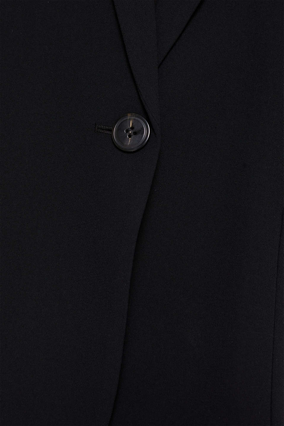Blazer with gathered 3/4-length sleeves, BLACK, detail image number 4