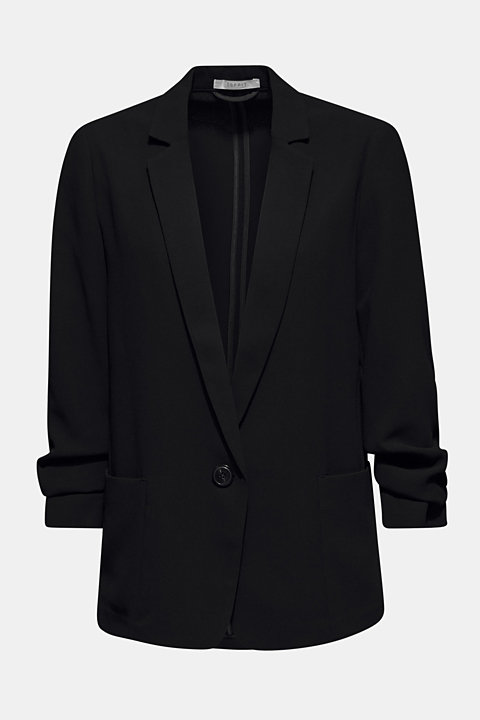 Blazer with gathered 3/4-length sleeves