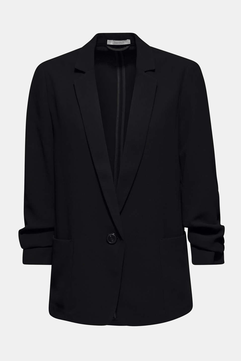 Blazer with gathered 3/4-length sleeves, BLACK, detail image number 6