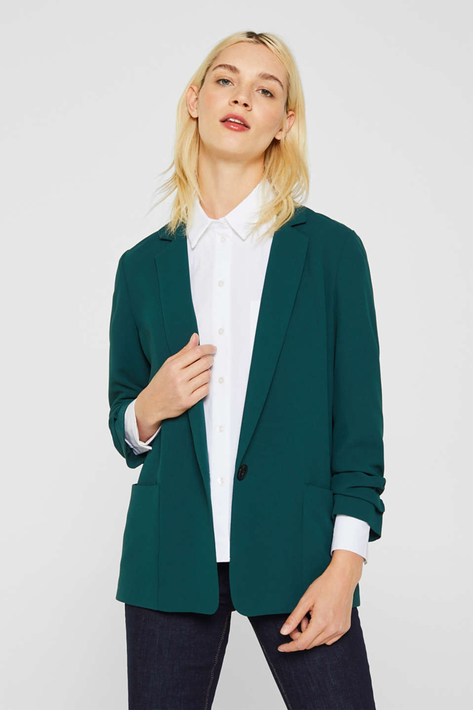 Blazer with gathered 3/4-length sleeves, DARK TEAL GREEN, detail image number 0