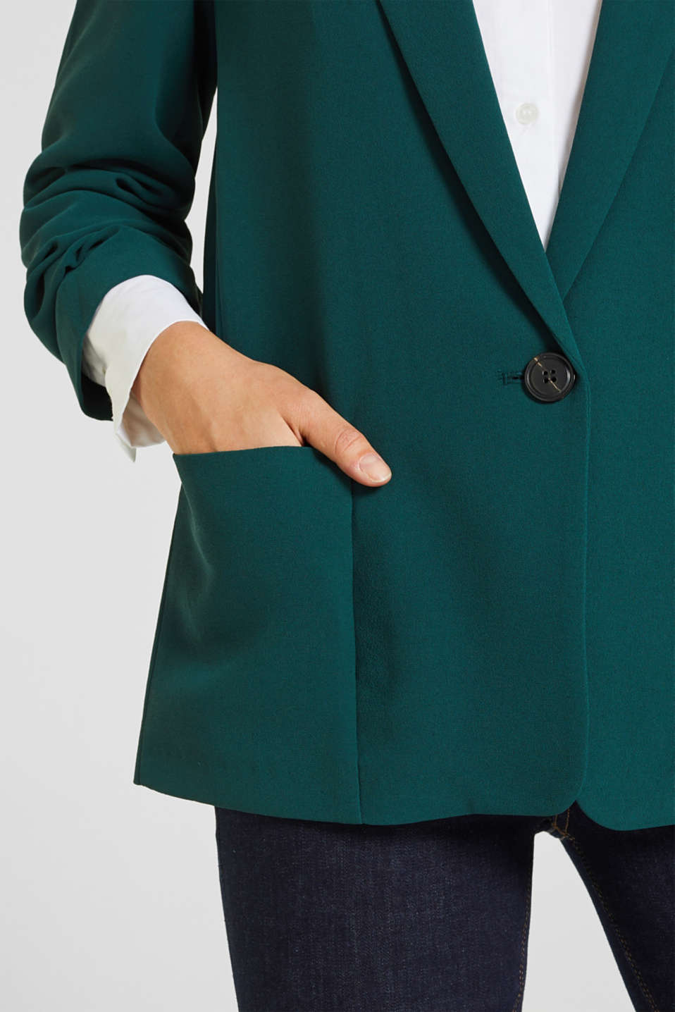 Blazer with gathered 3/4-length sleeves, DARK TEAL GREEN, detail image number 1