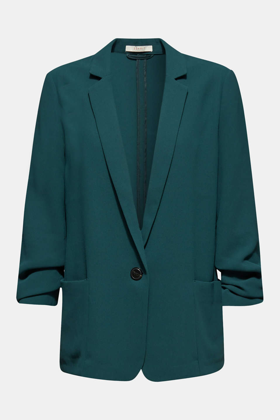 Blazer with gathered 3/4-length sleeves, DARK TEAL GREEN, detail image number 5