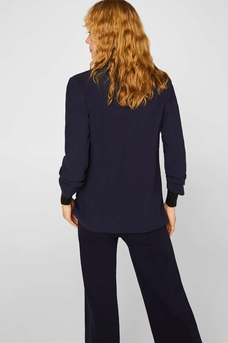 Blazer with gathered 3/4-length sleeves, NAVY, detail image number 2