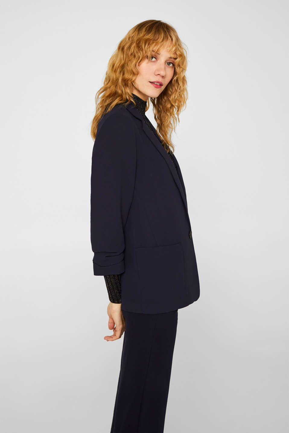 Blazer with gathered 3/4-length sleeves, NAVY, detail image number 4