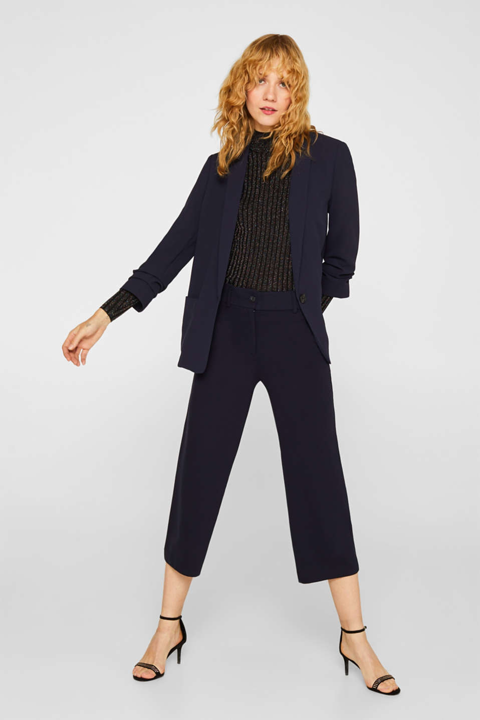 Blazer with gathered 3/4-length sleeves, NAVY, detail image number 0