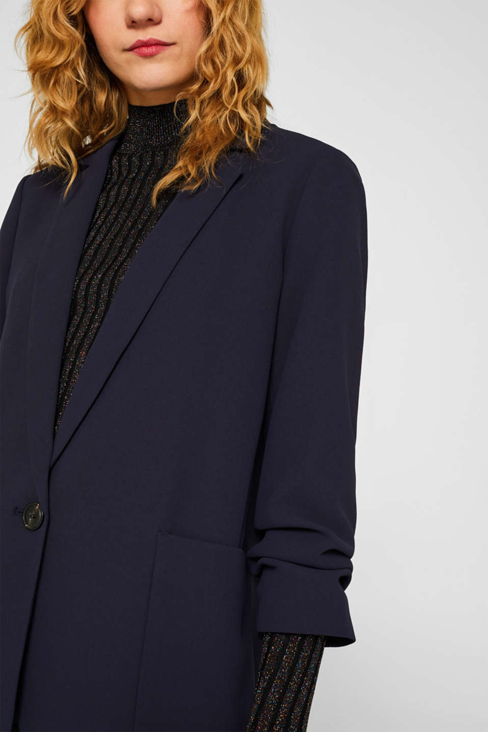 Blazer with gathered 3/4-length sleeves, NAVY, detail image number 1