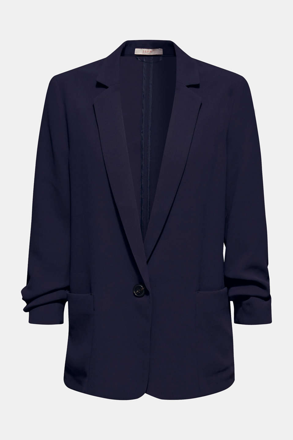 Blazer with gathered 3/4-length sleeves, NAVY, detail image number 5