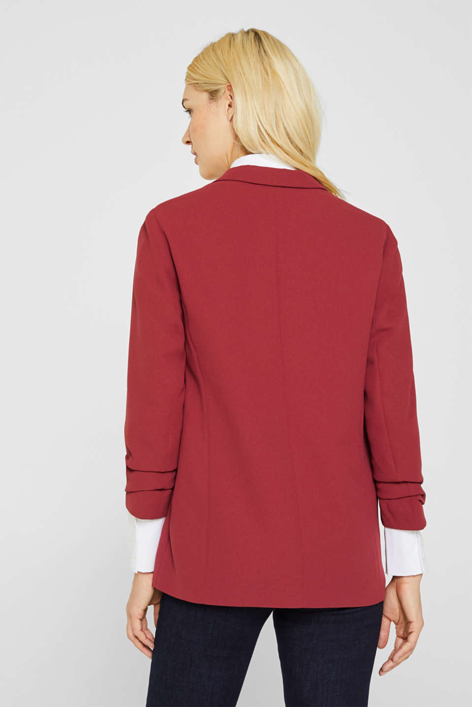 Blazer with gathered 3/4-length sleeves, GARNET RED, detail image number 1