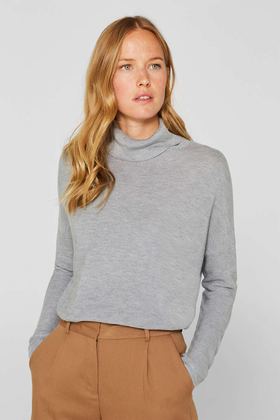 Oversized jumper with a ribbed texture, MEDIUM GREY 5, detail image number 0