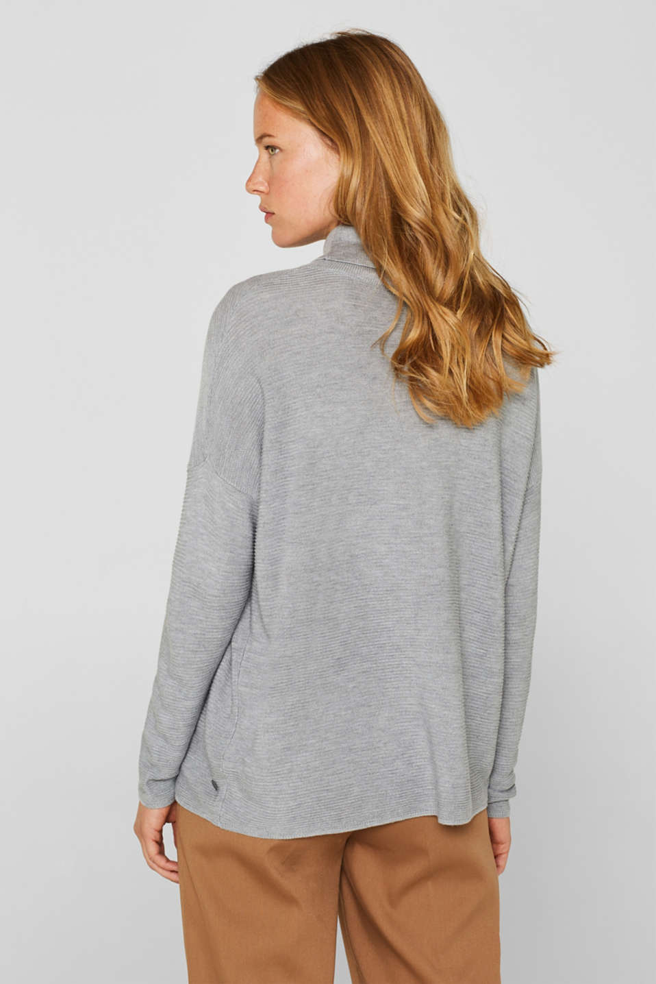 Oversized jumper with a ribbed texture, MEDIUM GREY 5, detail image number 3