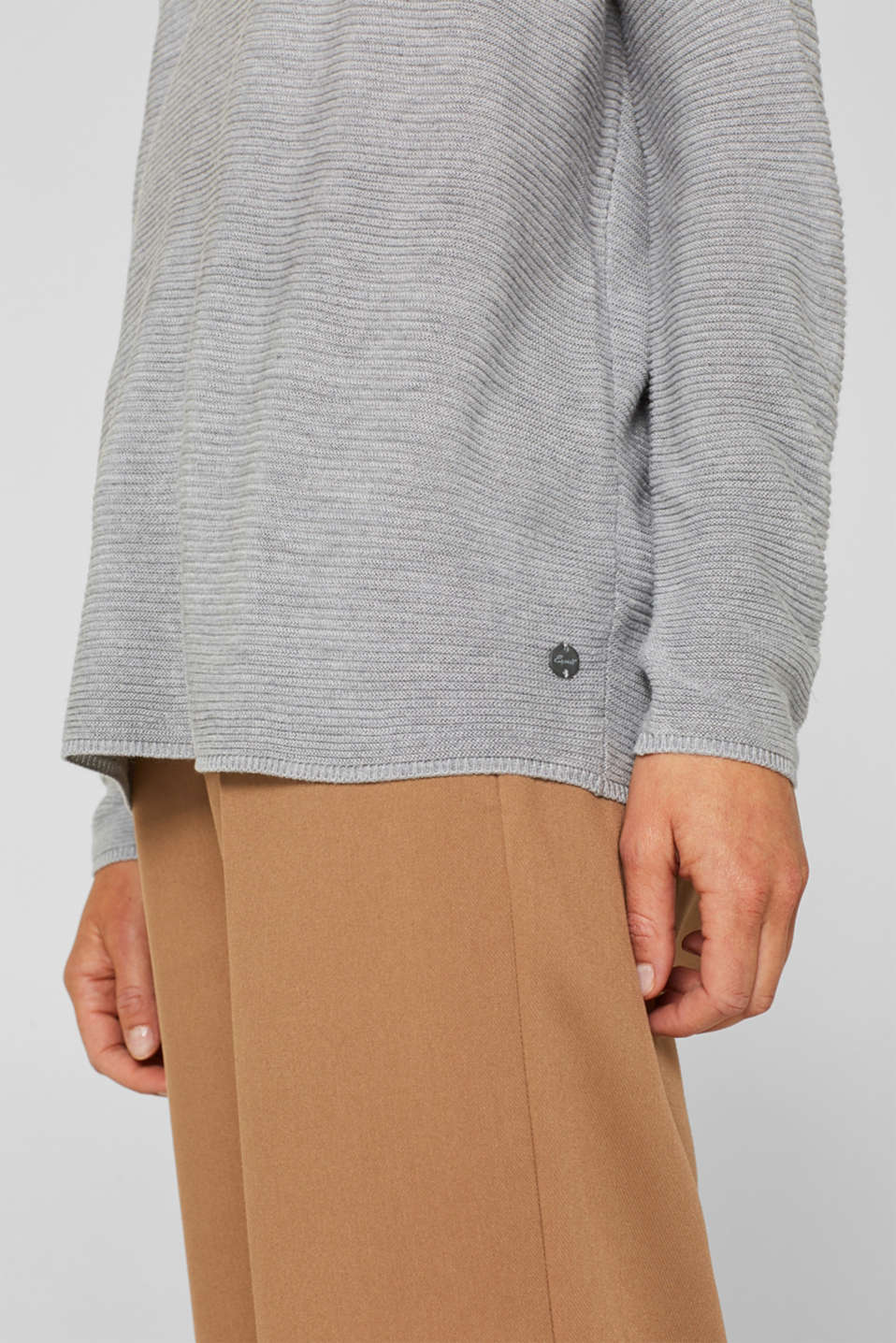Oversized jumper with a ribbed texture, MEDIUM GREY 5, detail image number 5